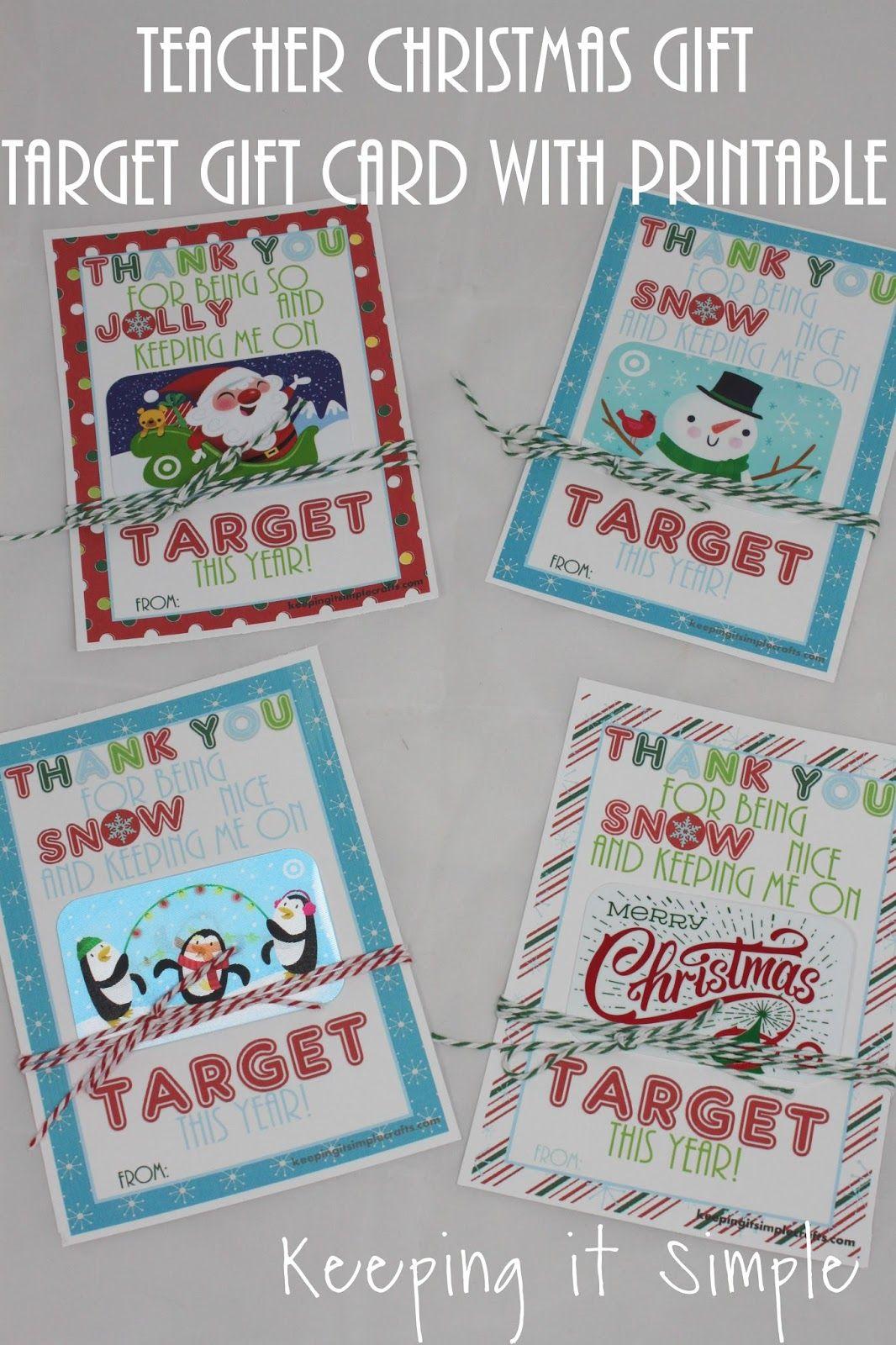 Teacher Christmas Gift idea Target gift card with