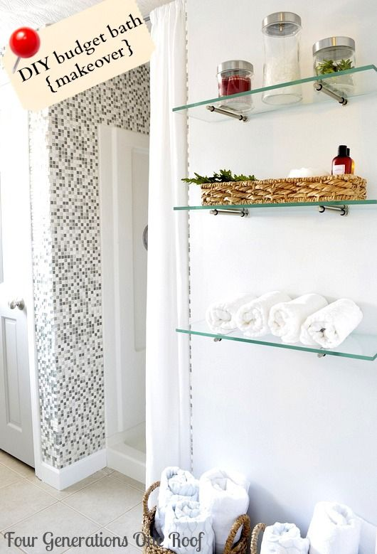 diy budget bathroom renovation + how to hang glass shelves four
