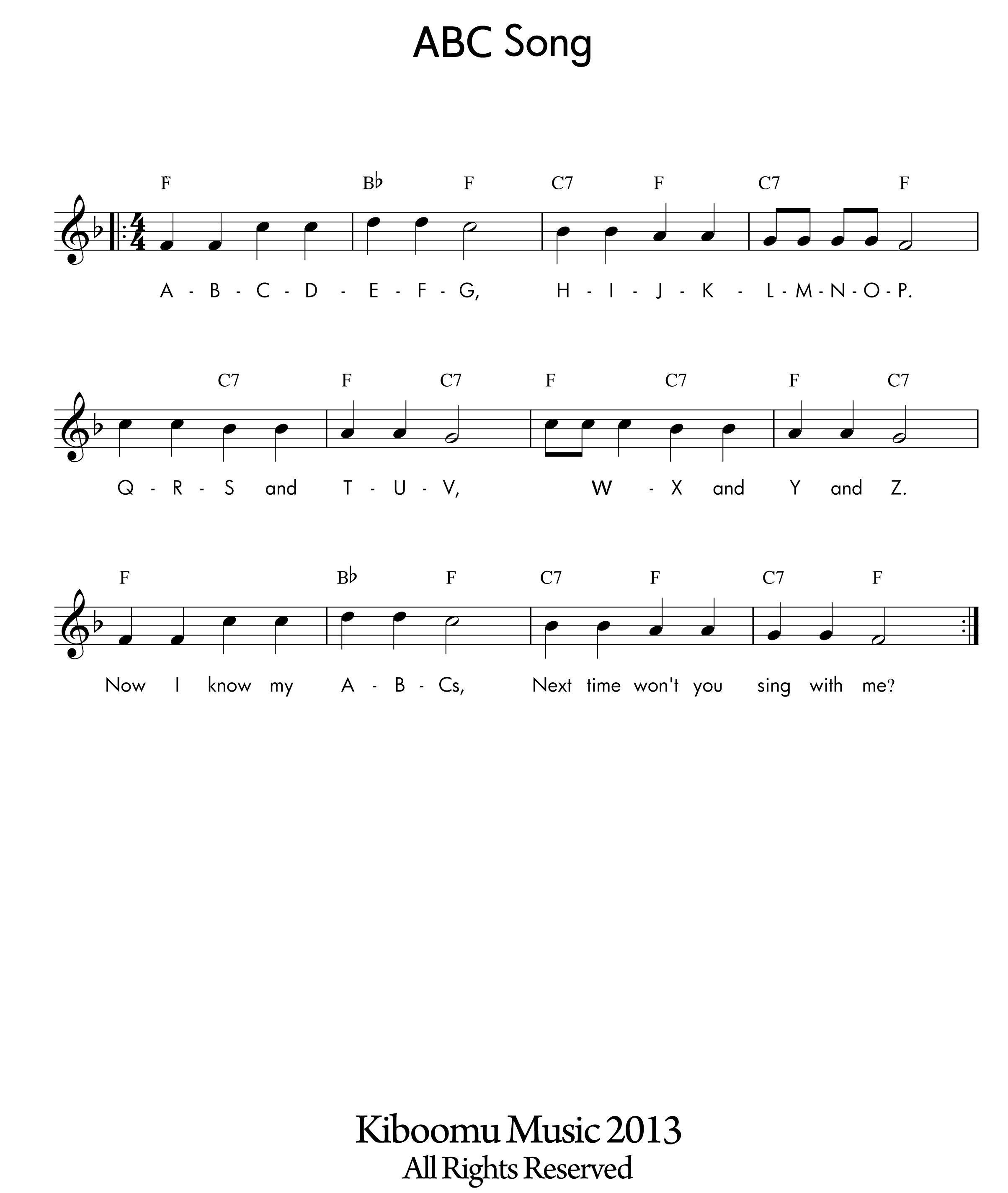 Abc Song Sheet Music