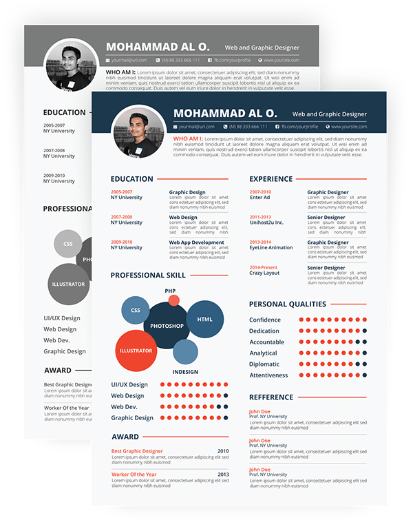 FREE Resume Template Print ready & two color versions on