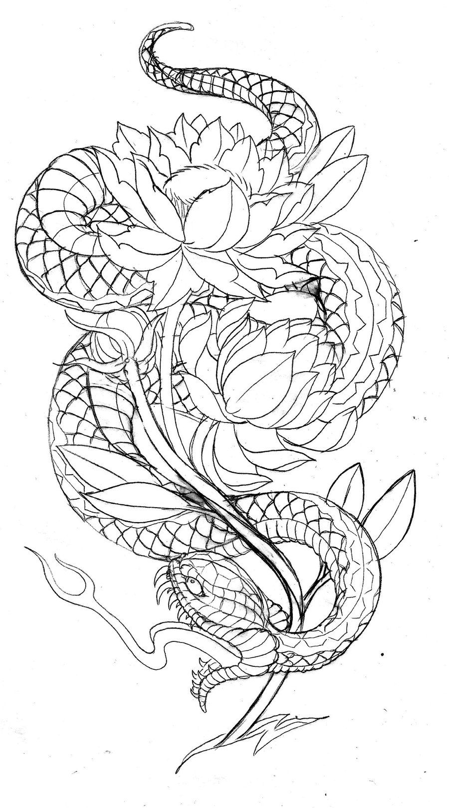 Japanese Style Snake with Lotus by *TattooMasterZAO on