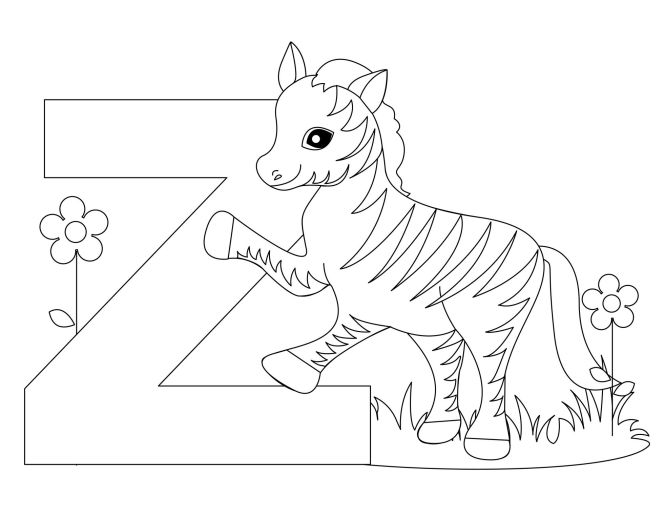 Printable Animal Alphabet Worksheets Letter Z For Zebra Coloring Pages Kids