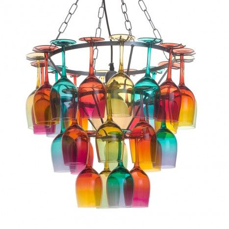 Multi Coloured 3 Tier Ombre Wine Glass Chandelier 349