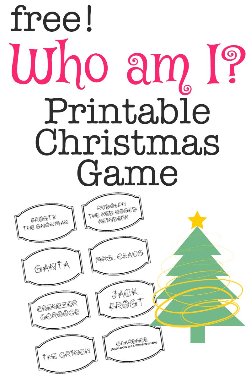 Printable Christmas Game Who Am I? Printable christmas