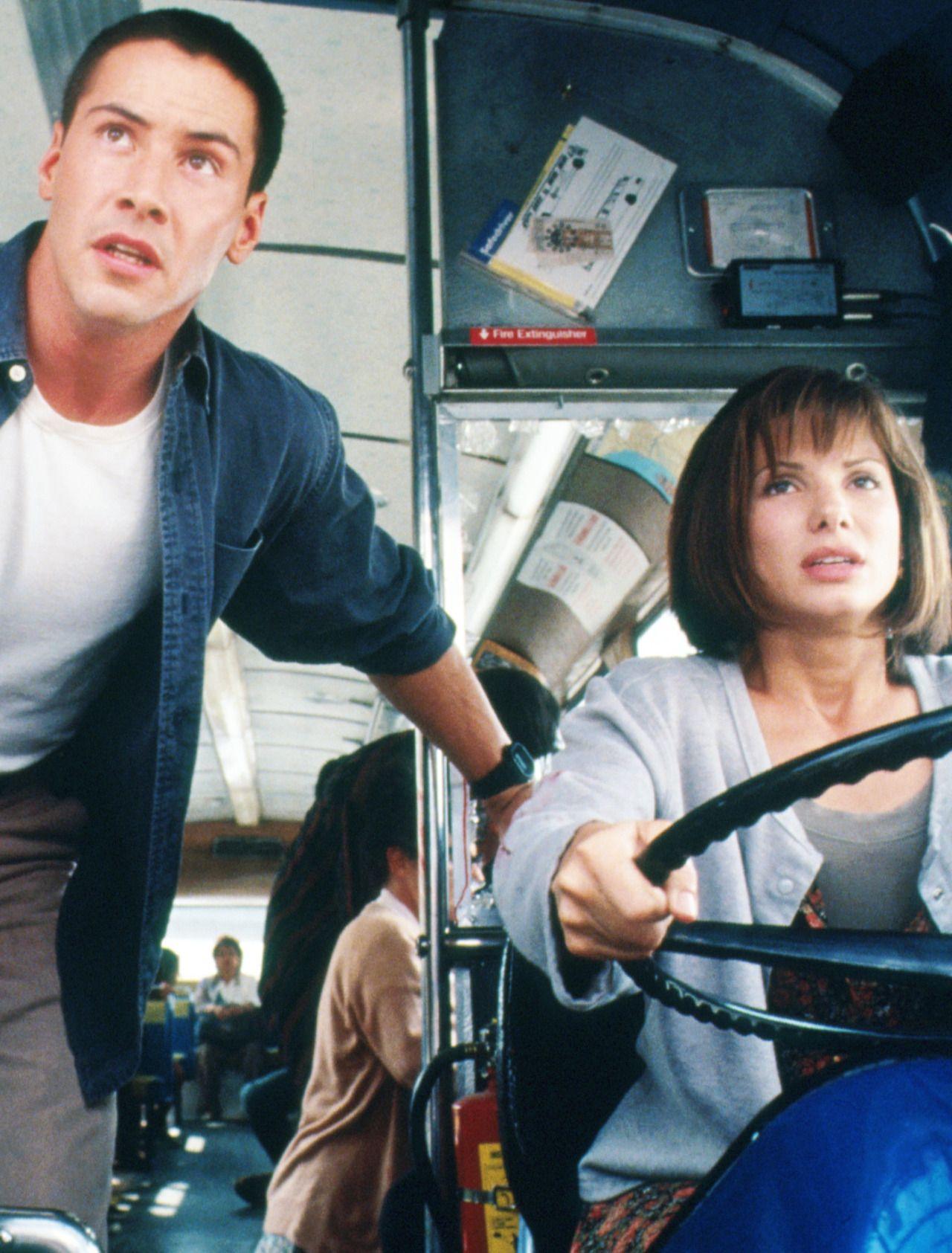 Keanu Reeves and Sandra Bullock in Speed, 1994. Via http