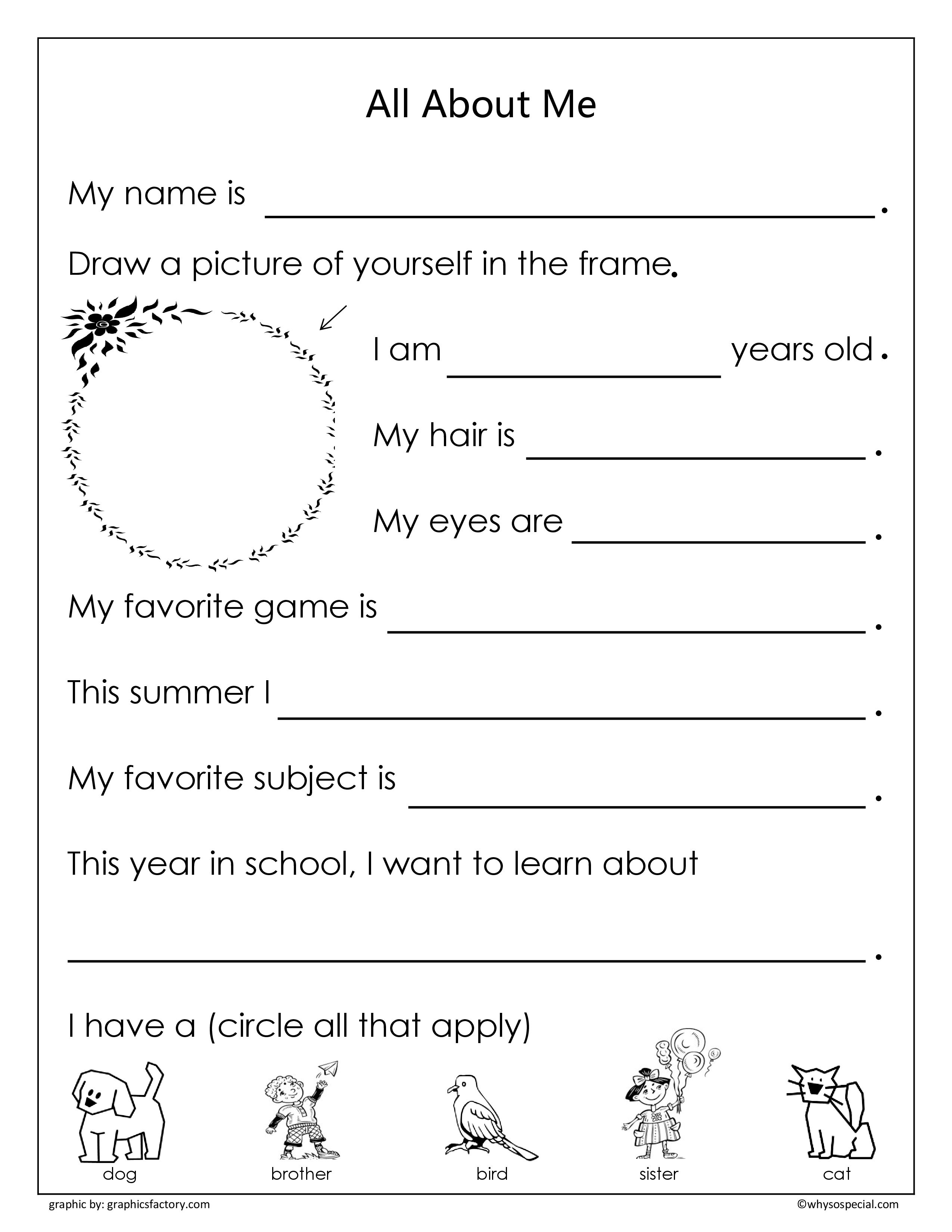 First Day Of School Student Worksheet