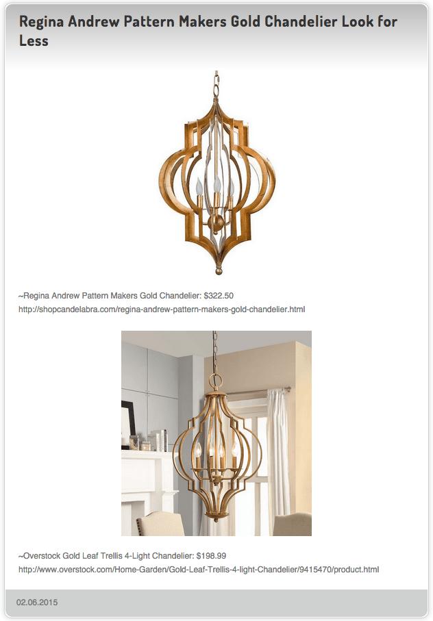 Regina Andrew Pattern Makers Gold Chandelier 322 50 Vs Leaf Trellis 4 Light