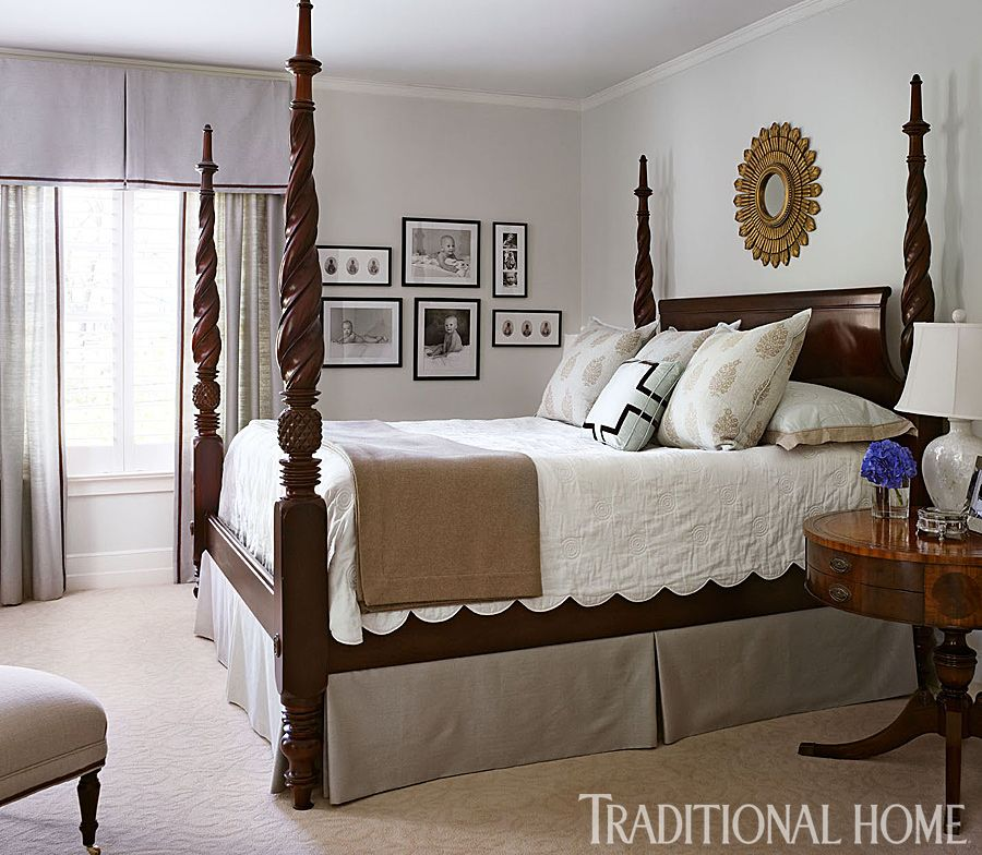 The stately four poster bed from Hickory Chair is the