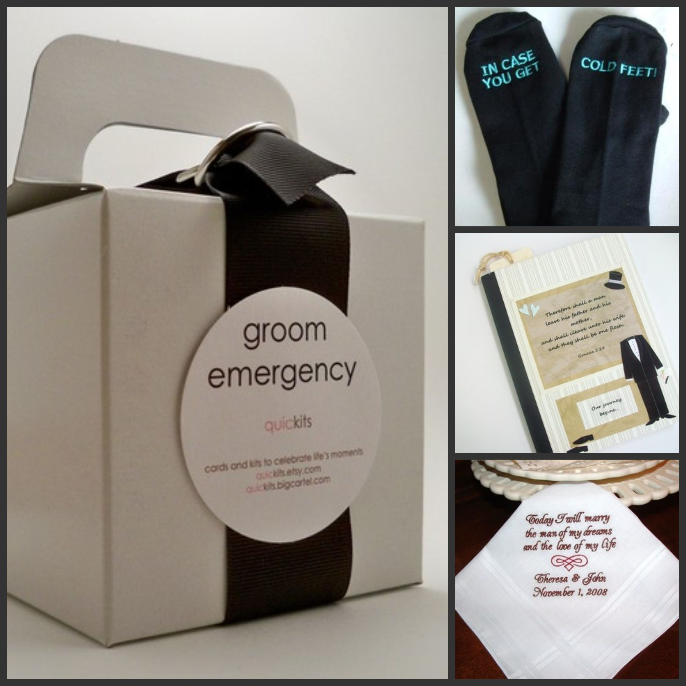 Personal gifts for your groom (clockwise from left) Groom