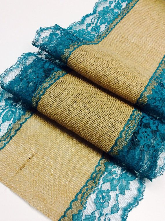 Burlap Table Runner TealGreen Lace3ft 10ft X 13Wide