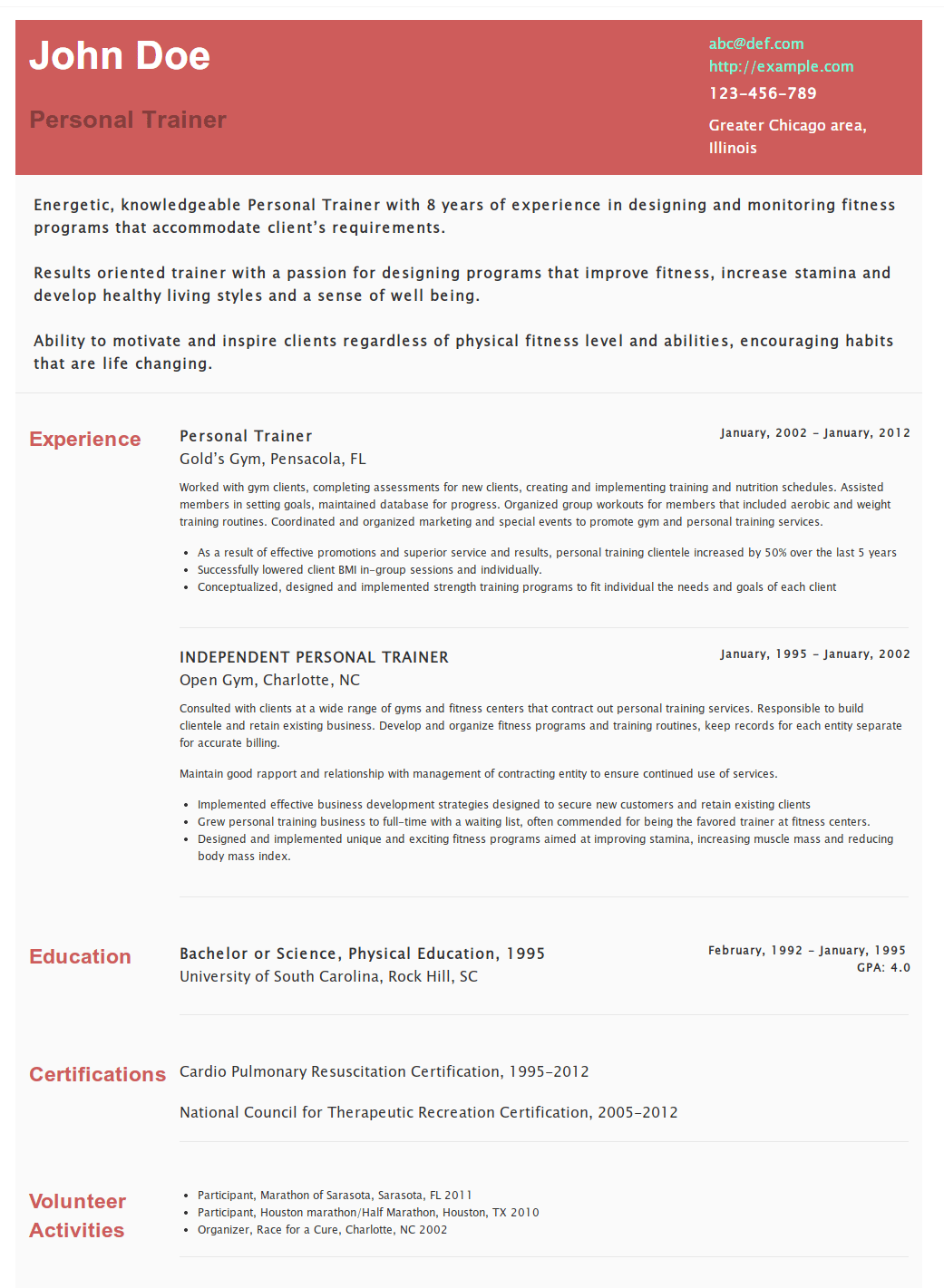 trainer resume sample personal trainer resume templates resume