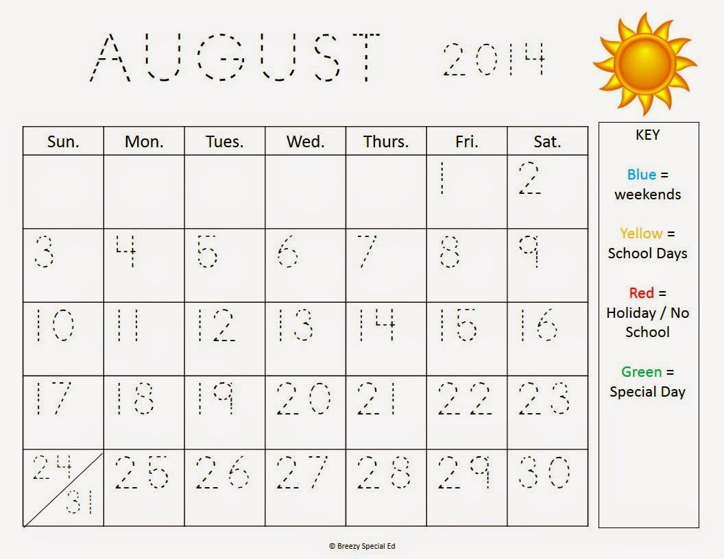 Traceable Calendar Worksheets