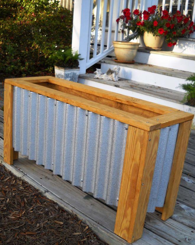Diy corrugated steel wood planter box home is heaven