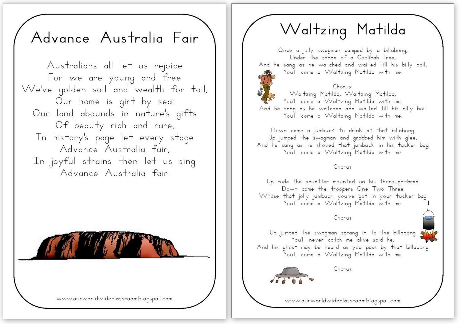 Free Printable Australia Day Learning Packet Advance