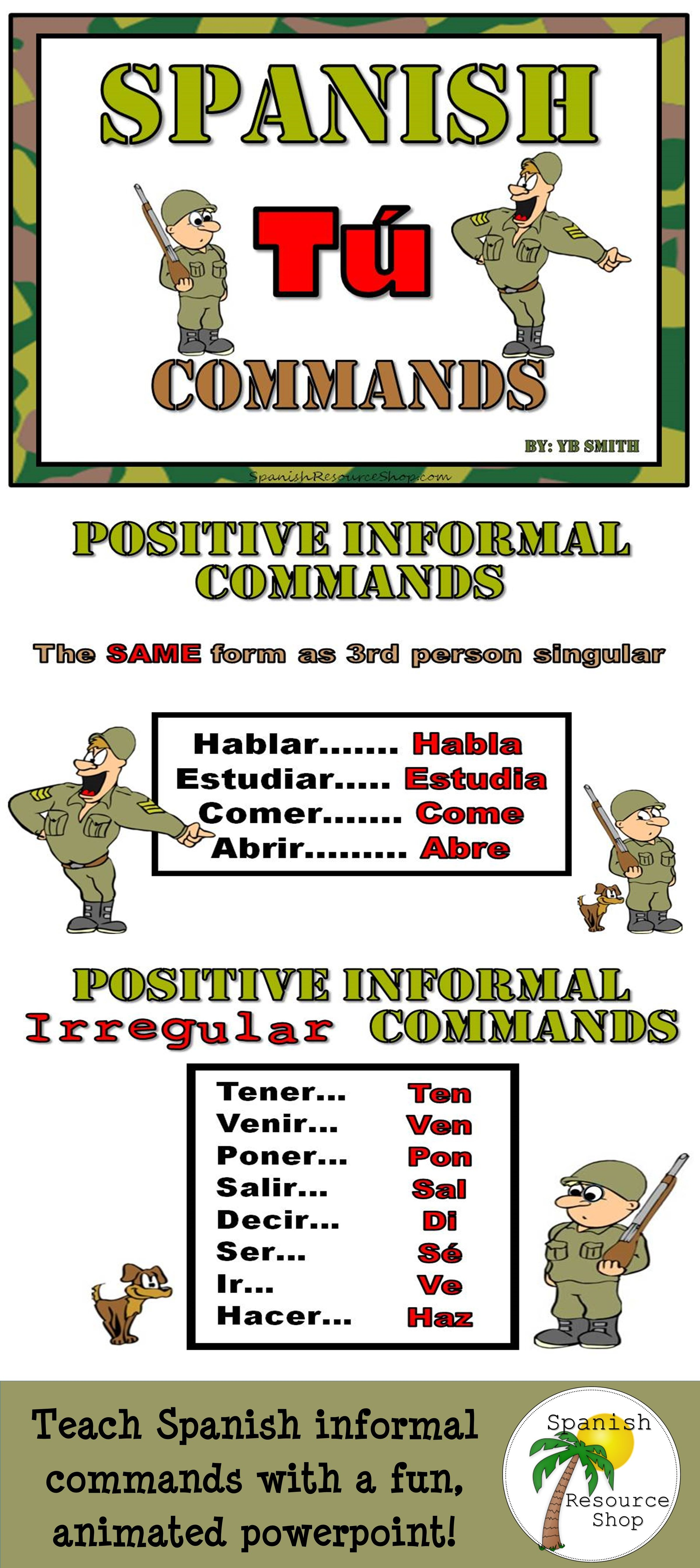 Spanish Informal Commands Grammar Notes And Practice