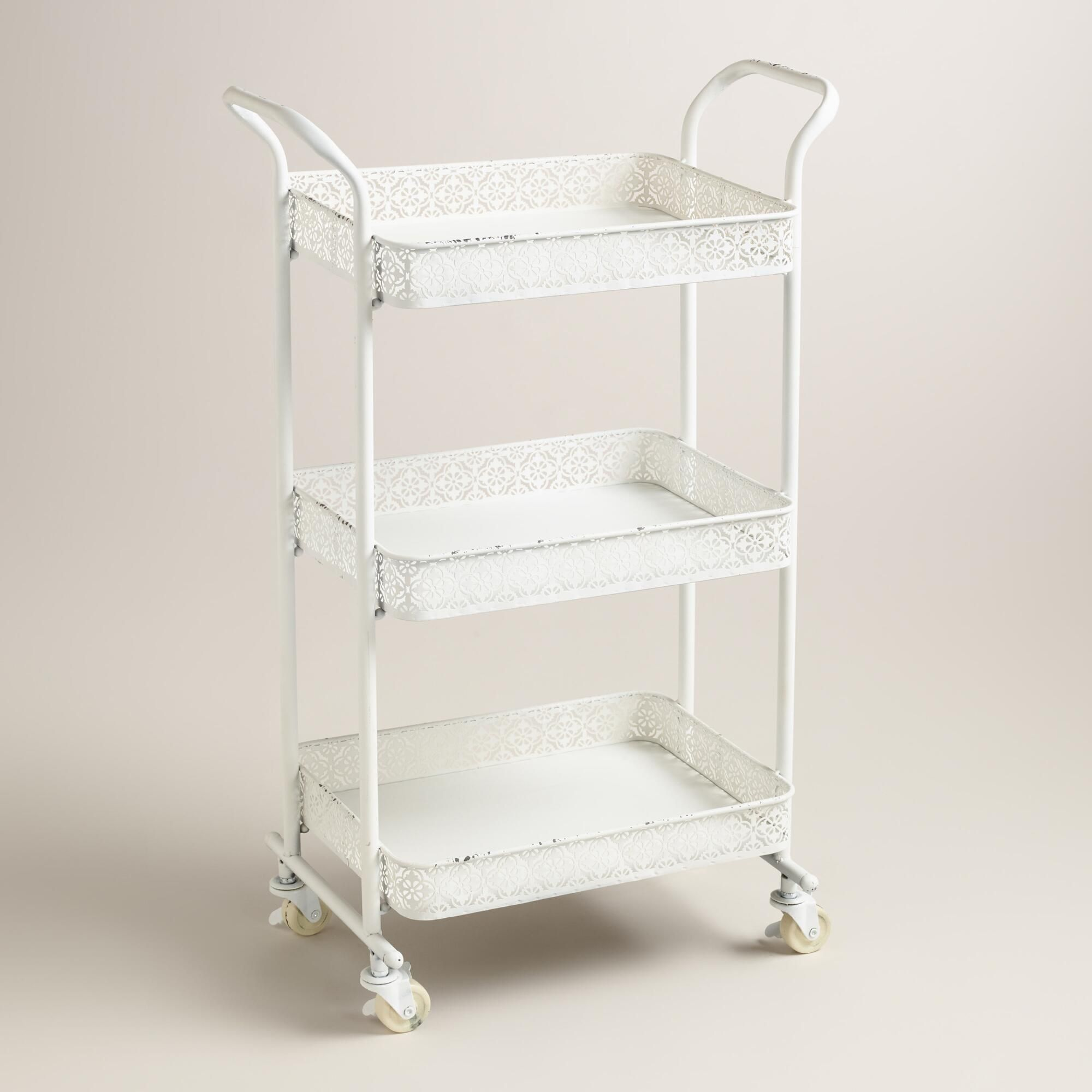 white metal filagree aria rolling cart | metal cart, bath and metals