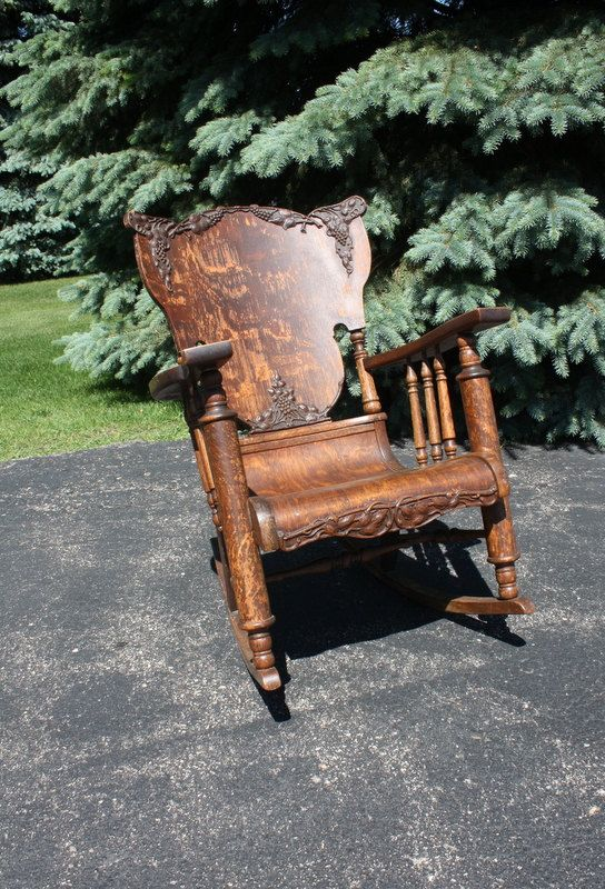 Vintage/Antique Oak Tiger Wood Rocking Chair things of