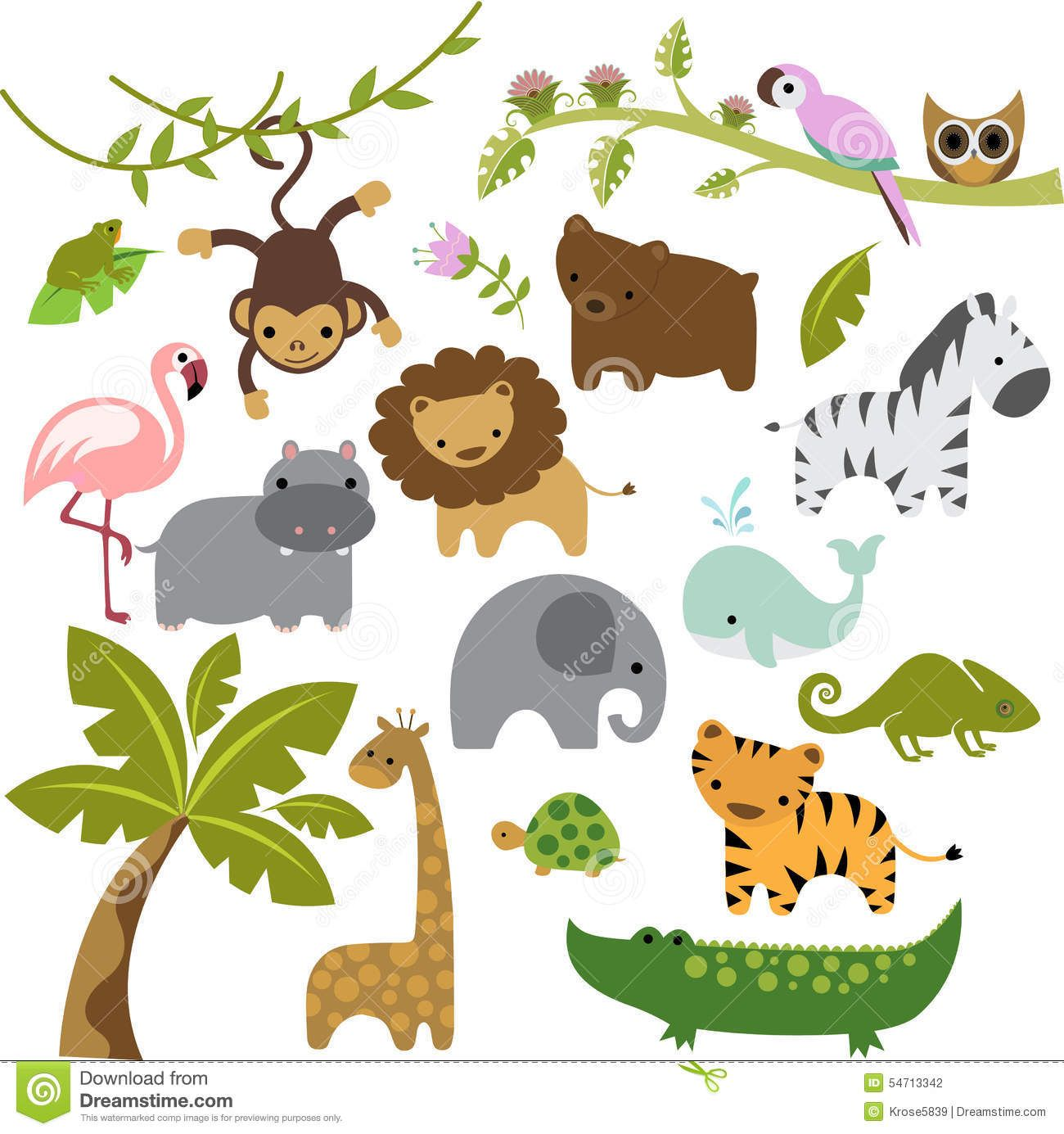 Baby Zoo Animals Vector Clipart Stock Illustration Image