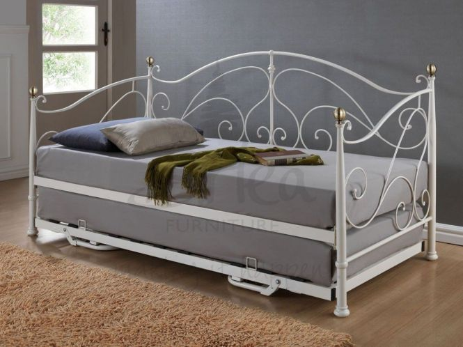Classic Daybed With Trundle In Pure Grey Mattress White Metal Framed And Brown Fur