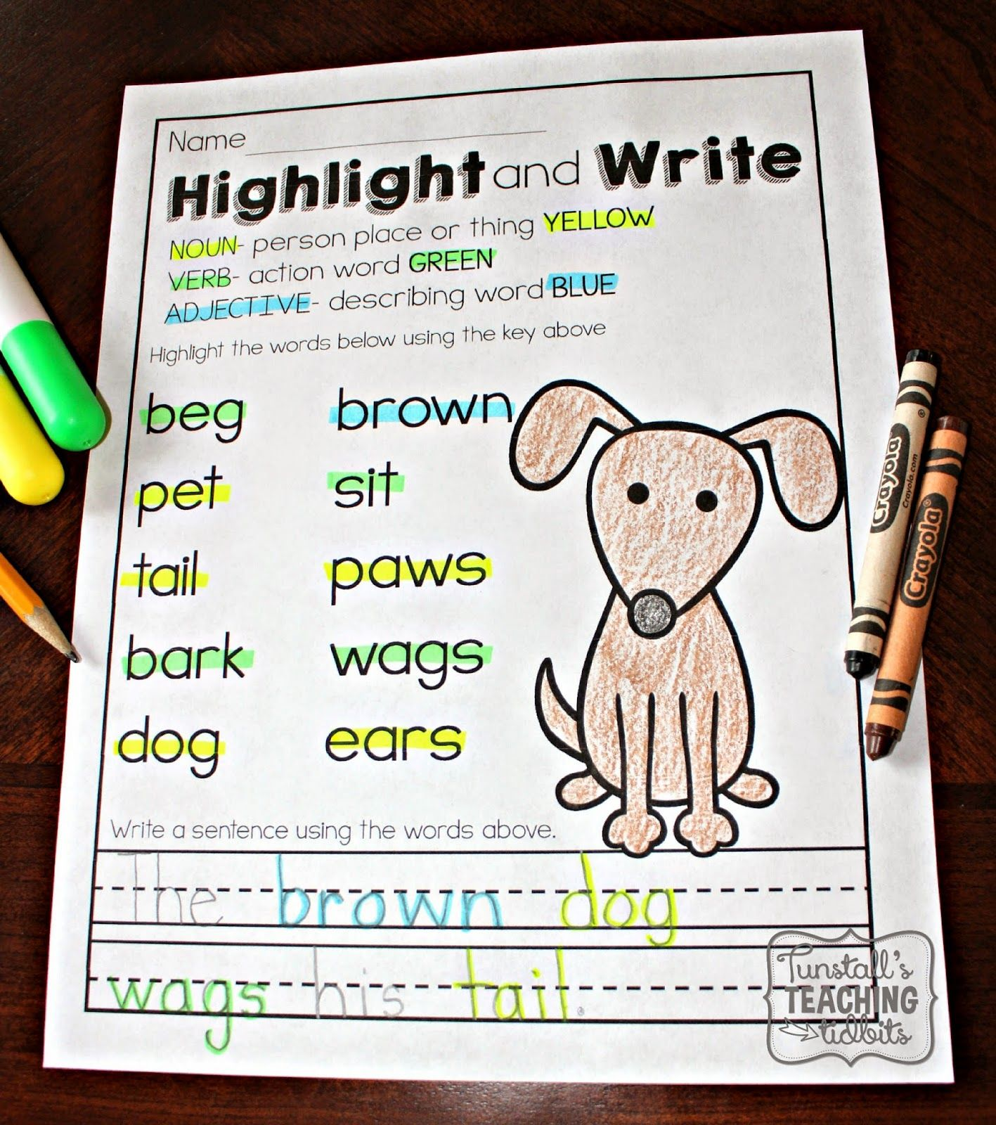 Printable Literacy Practice Parts Of Speech Blends And