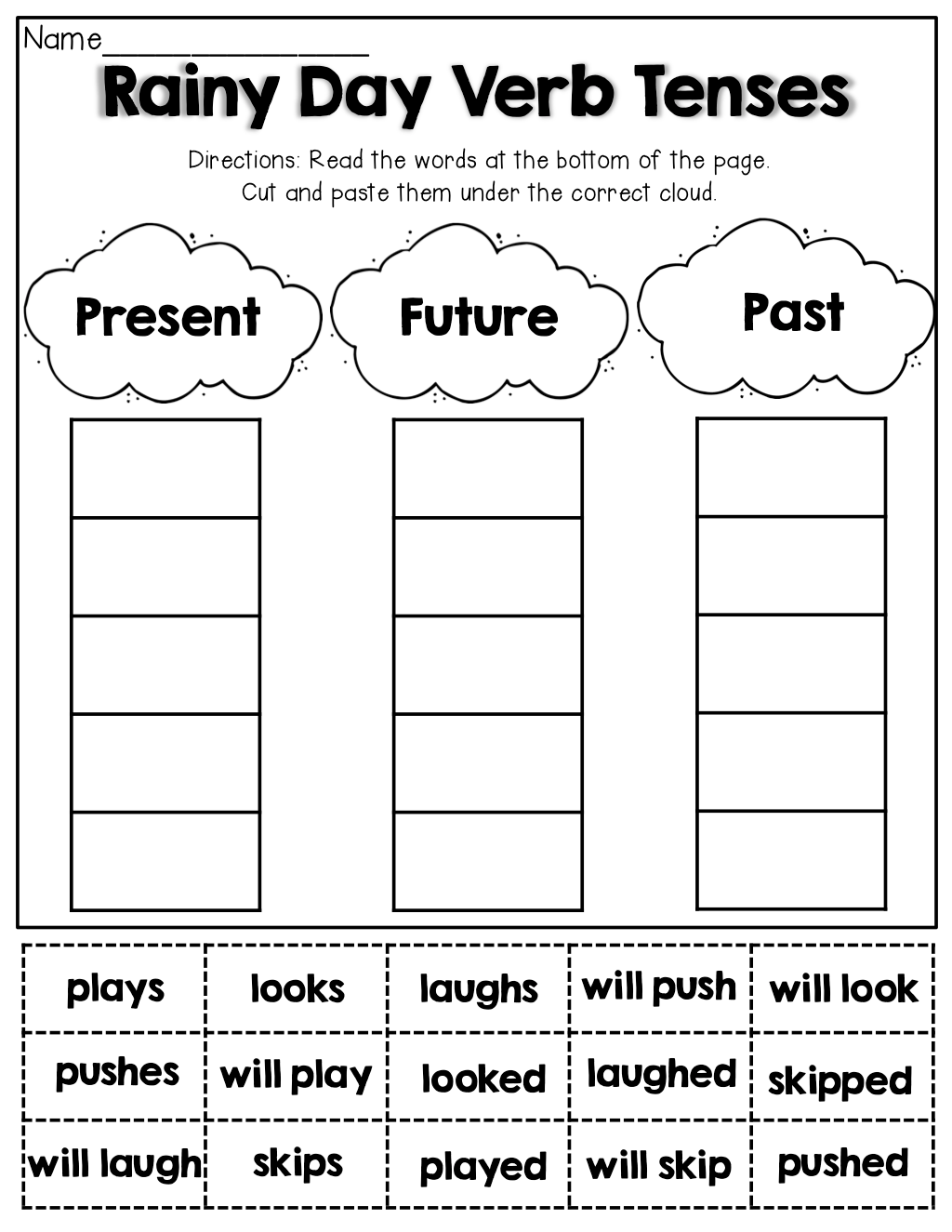 Verb Tenses Cut And Paste