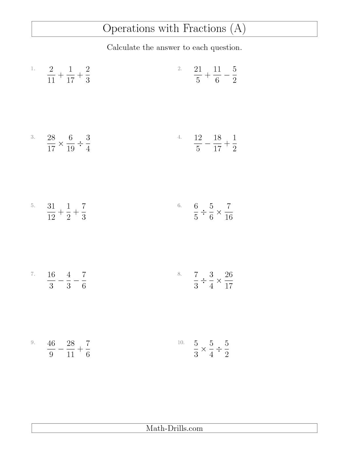 New Mixed Operations With Three Fractions Including Improper Fractions A Math Worksheet
