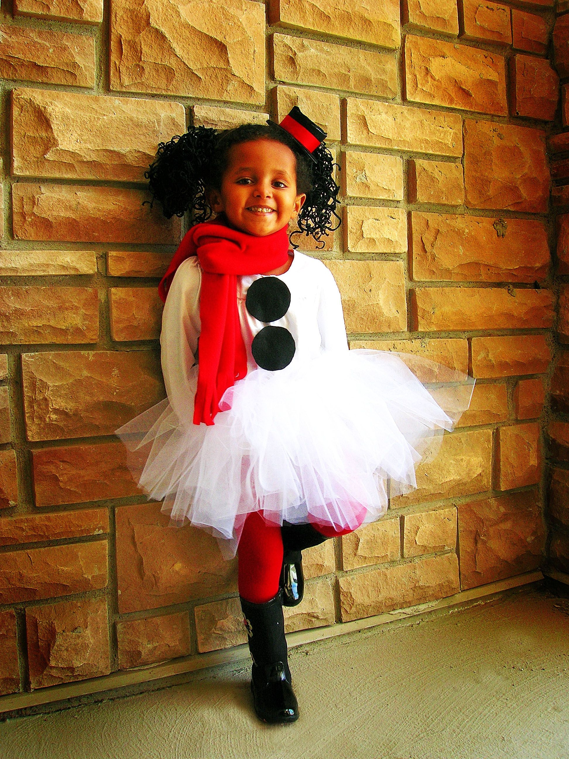 Fun Snowman costume... I am thinking this could be cute