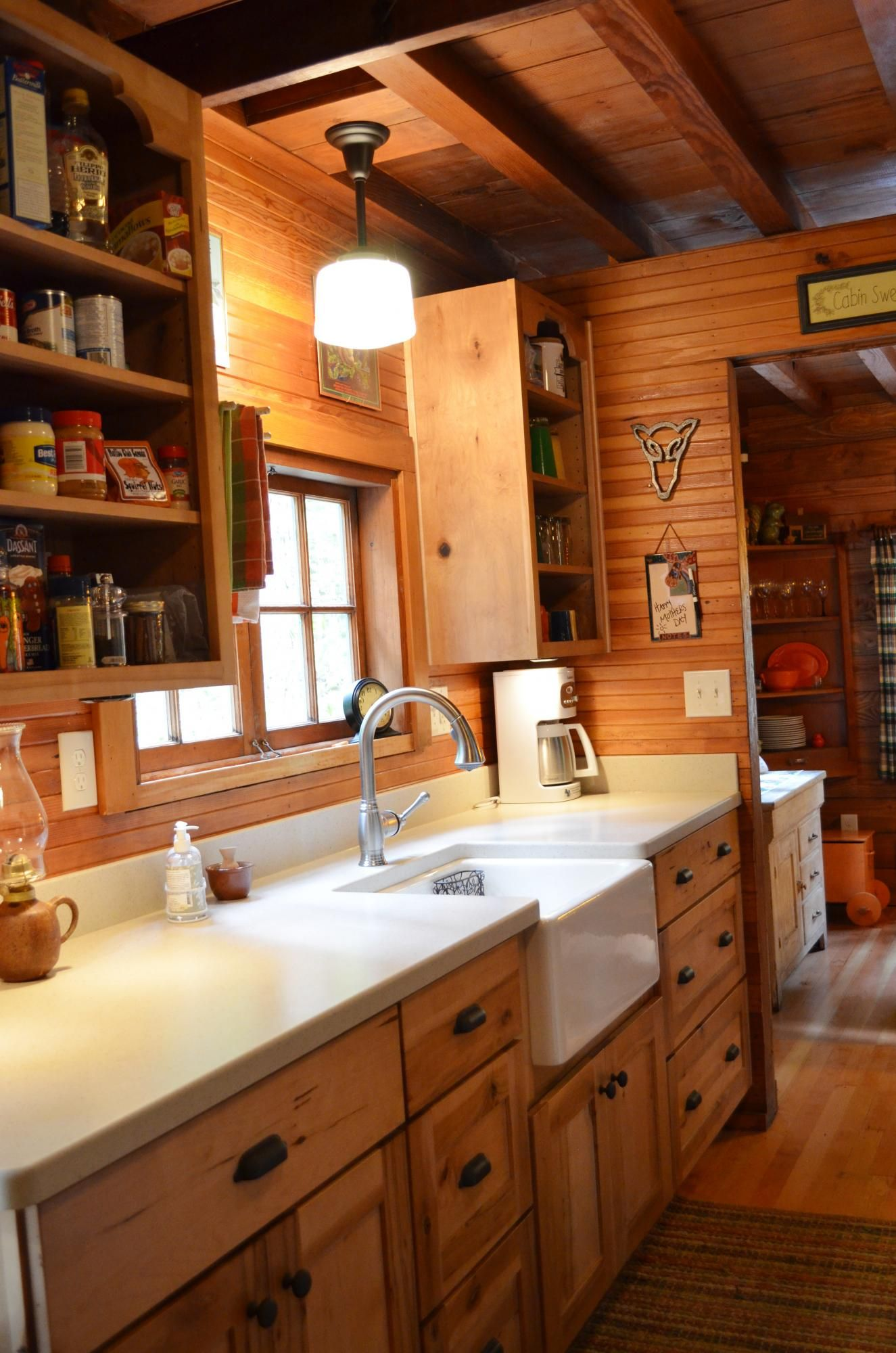 Rustic Cabin Galley Kitchen log home