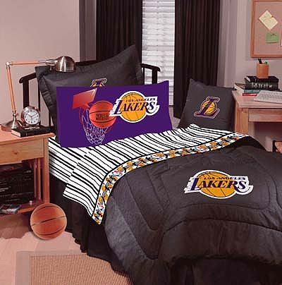 Lakers Bed Set Los Angeles Denim Basketball Bedding