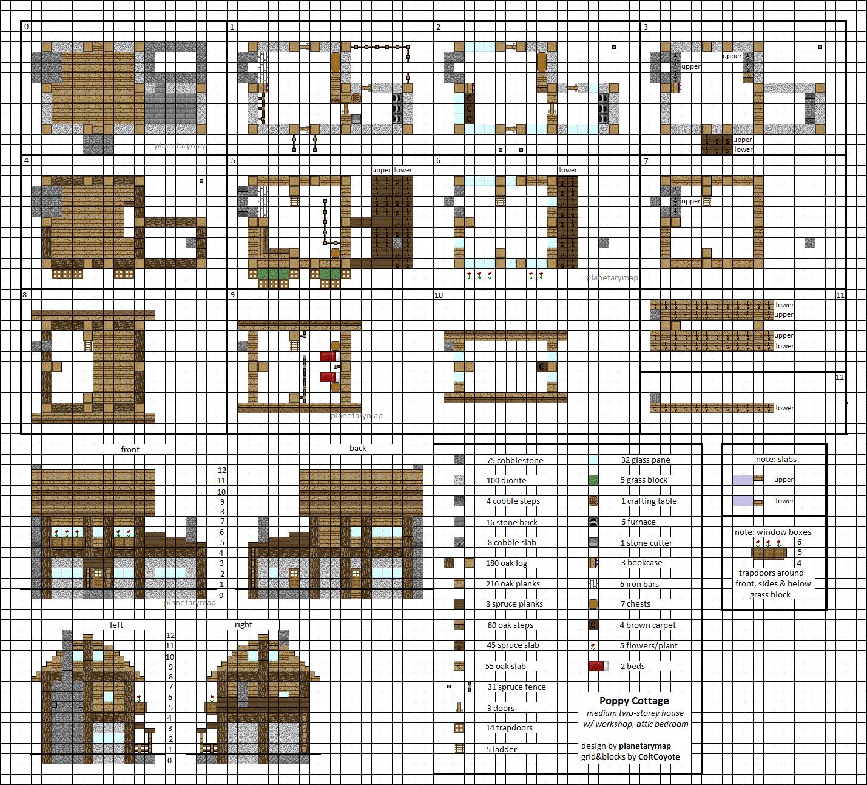 Poppy Cottage Medium Minecraft House Blueprints by