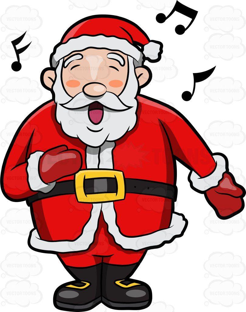 A Jolly Santa Claus Singing In Delight Vector clipart