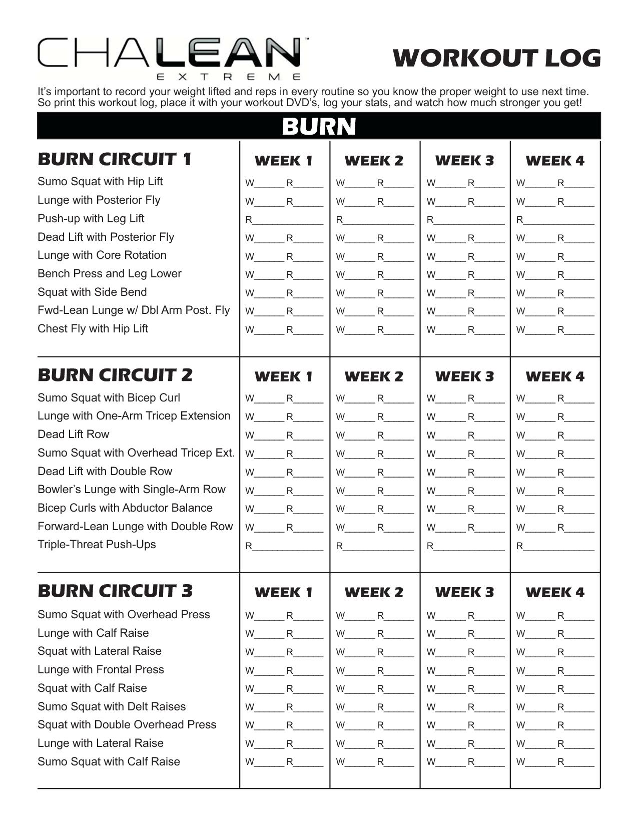 Chalean Extreme Workout Sheets
