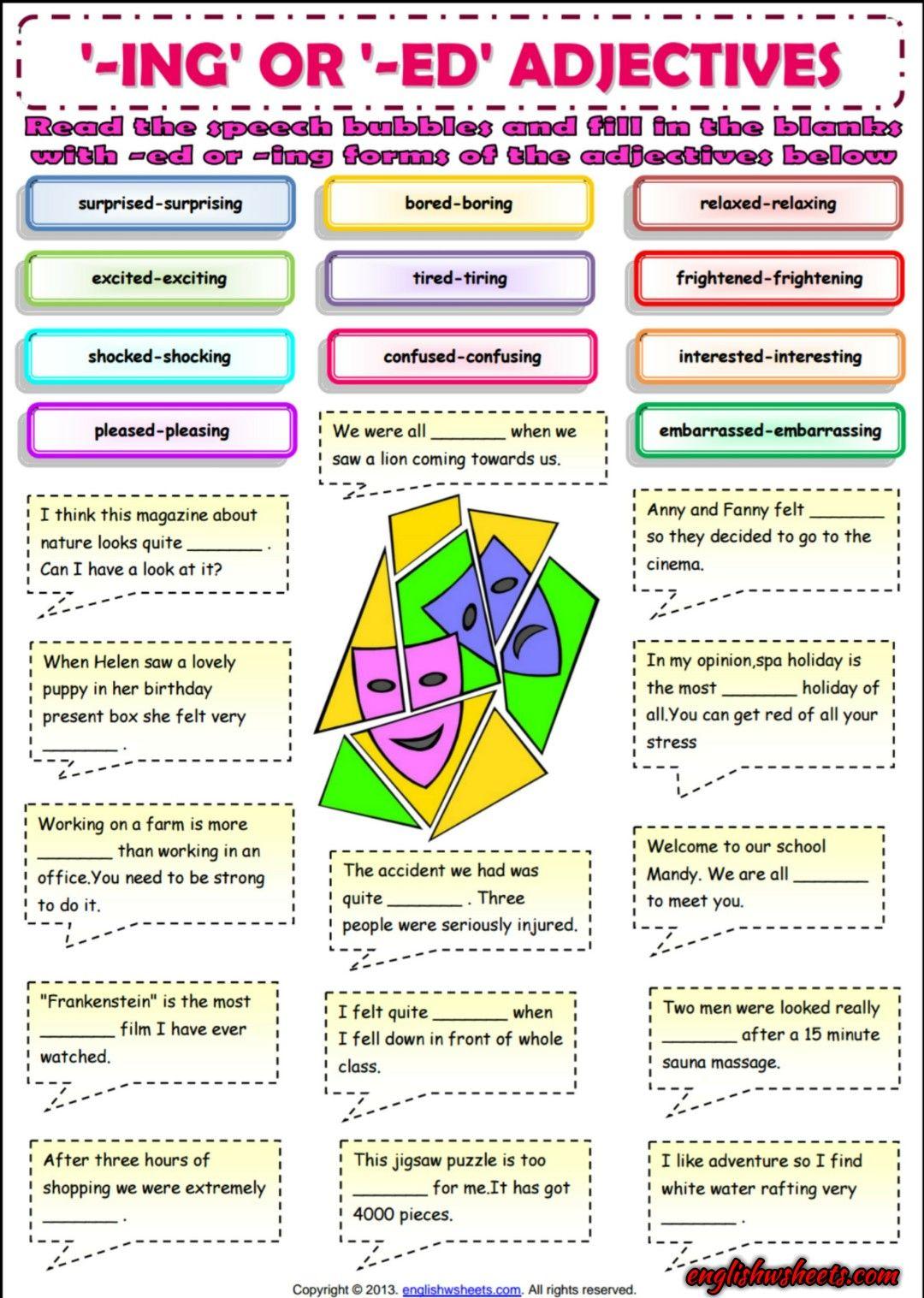 Ing Or Ed Adjectives Esl Grammar Exercise Worksheet