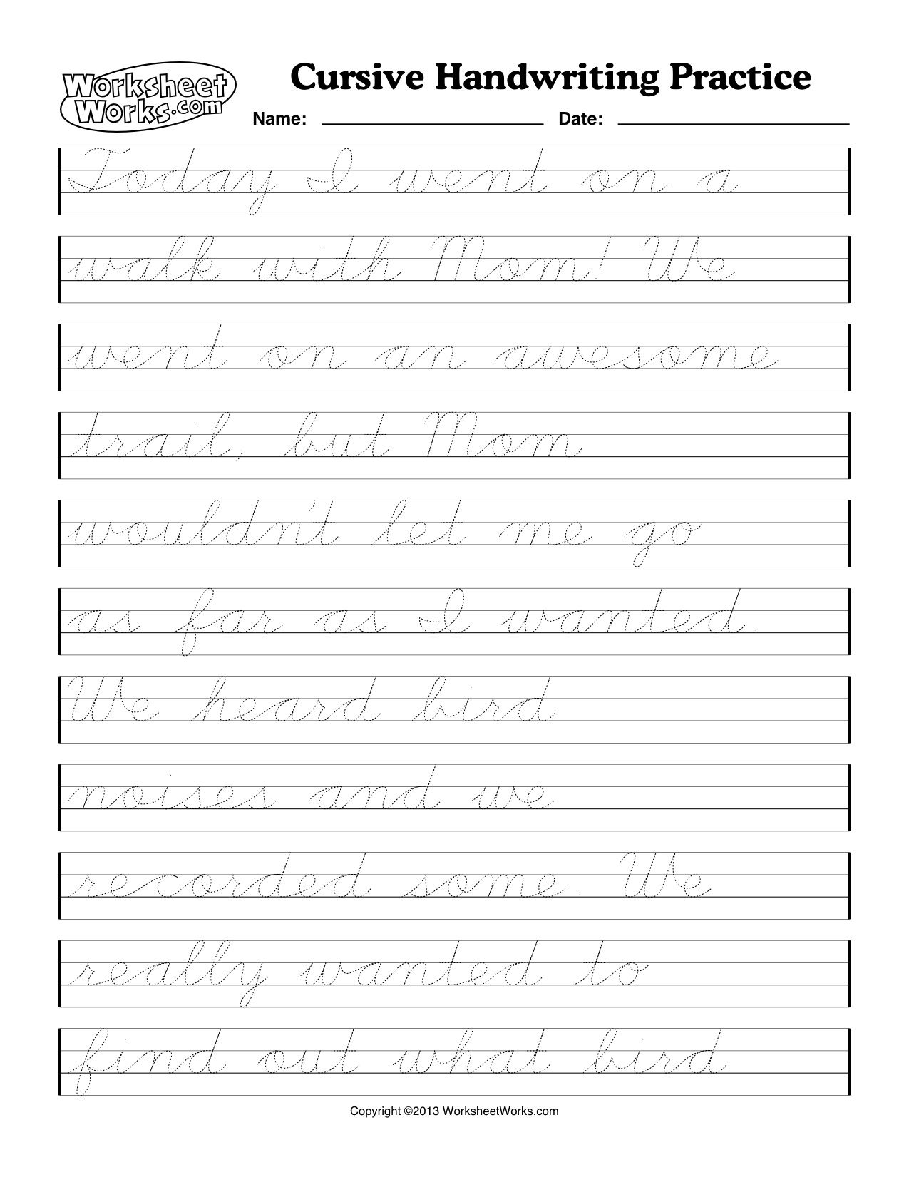Cursive Handwriting Worksheets