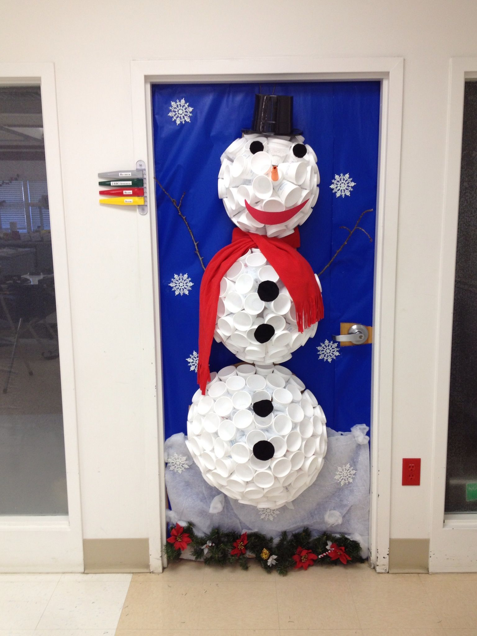 Our office door decorating contest entry. Frosty's Winter