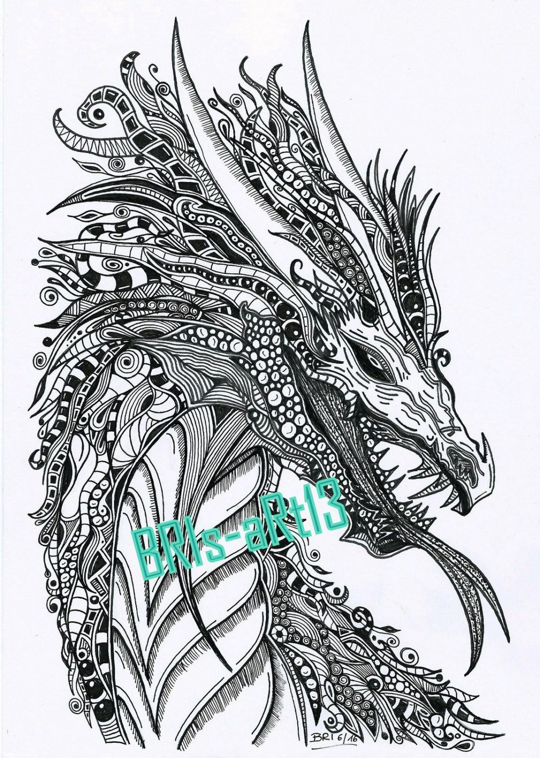 """Coloring Pages Adult coloring ZenZia """"DRACHE"""" made by"""