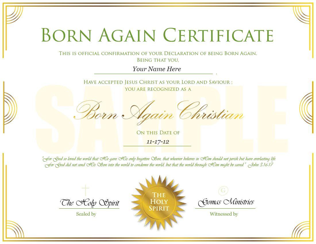 Born Again Certificate