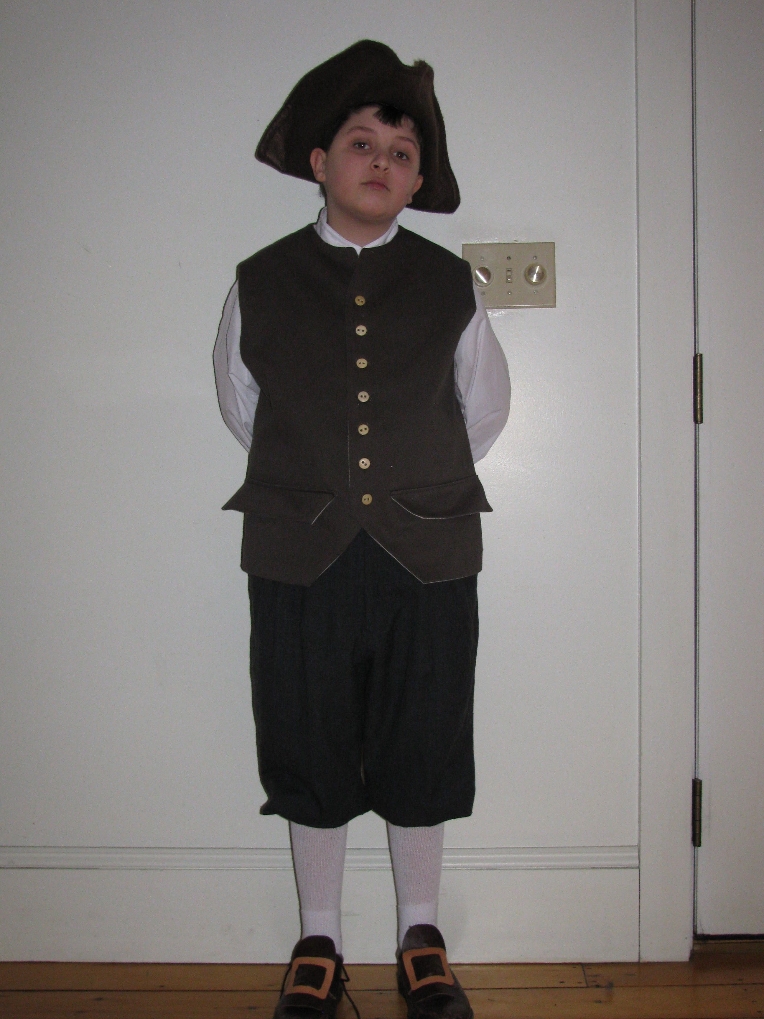 5th Grade Colonial Days Costume For Harry
