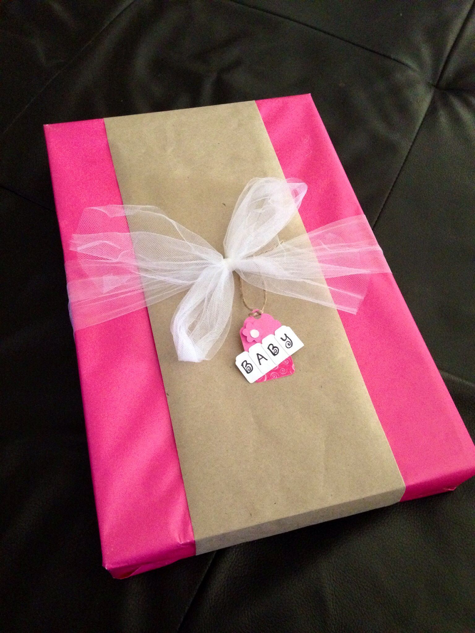 DIY Baby Shower Gift Wrap Idea Solid Pink Wrapping Paper