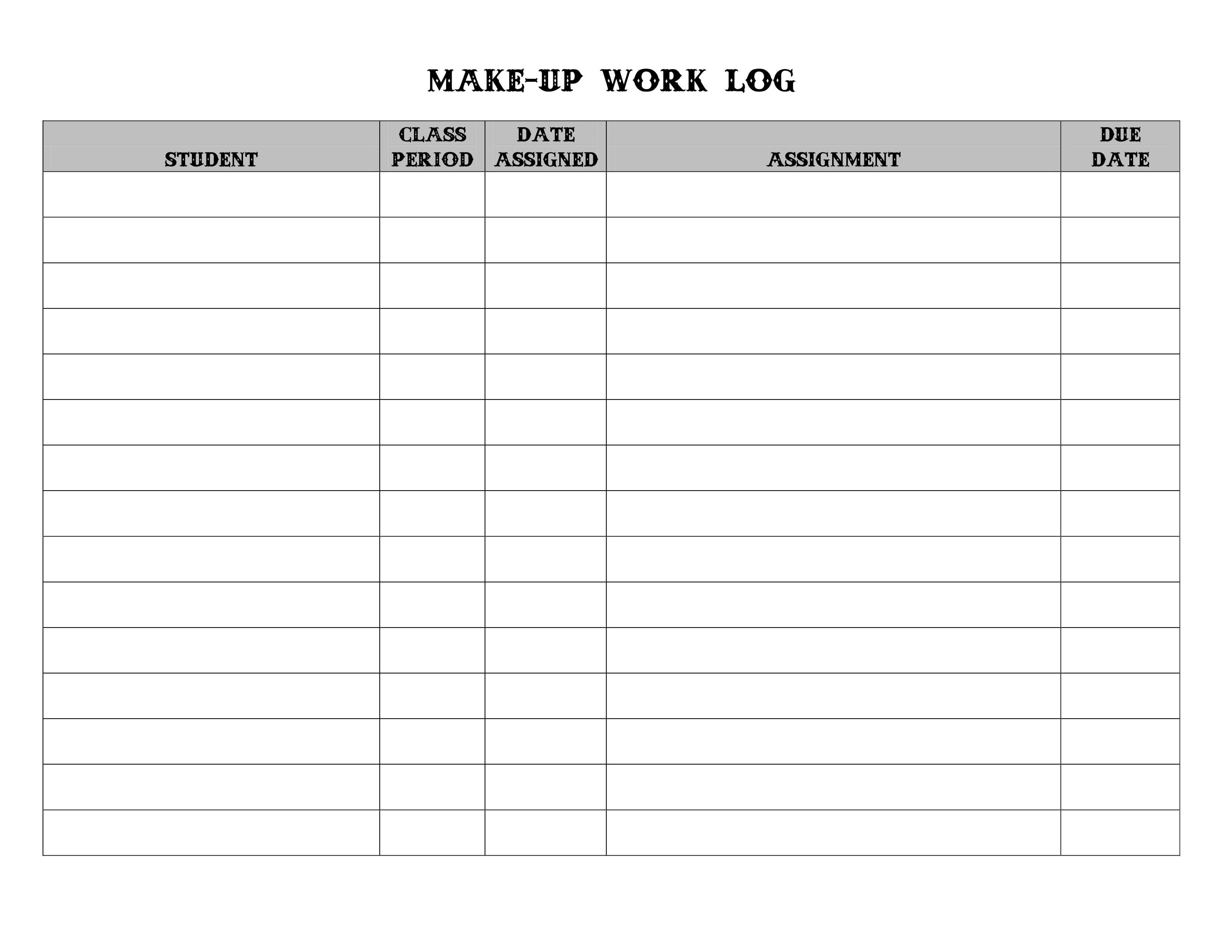 Make Up Work Log I Use This Everyday When I Check Attendance If I Am Giving Any New