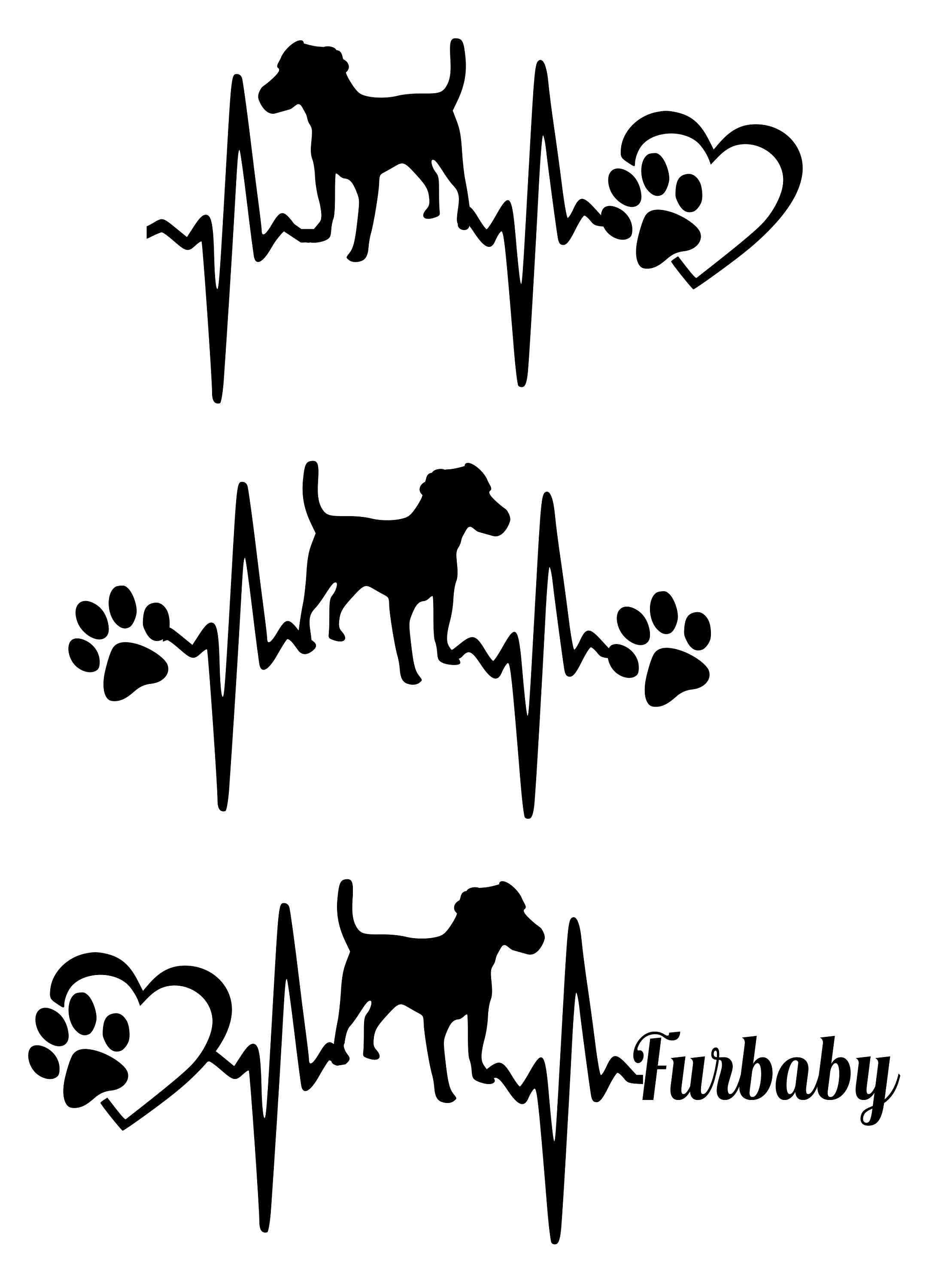Commercial Use Svg Svg Cut File Jack Russell Terrier Heartbeat Paw With Heart
