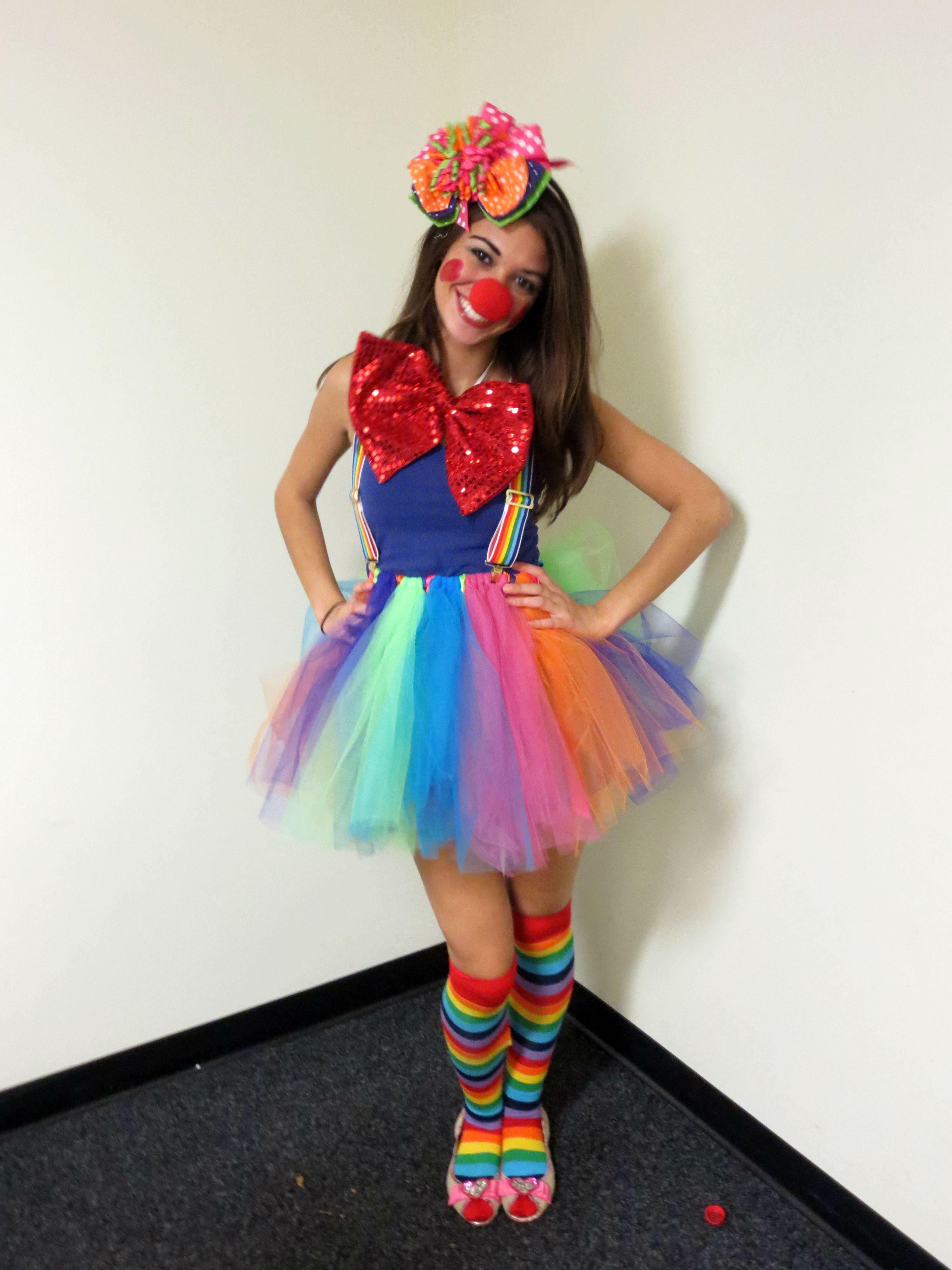 Homemade clown costume!! The fascinator and tutu were both