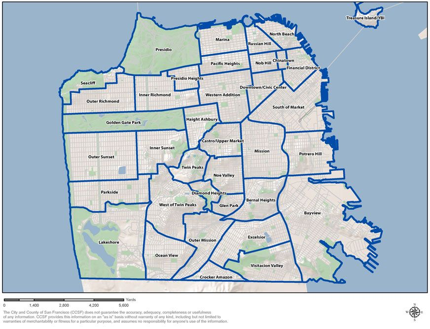 A great map that shows all the districts within the city
