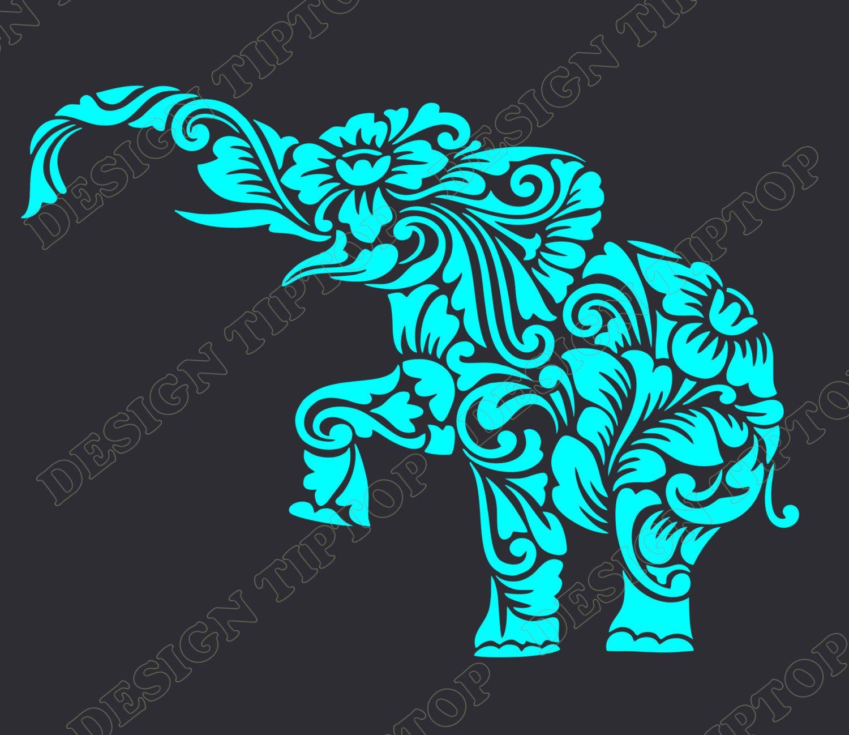 Flower elephant SVG DXF cut file elephant zentangle