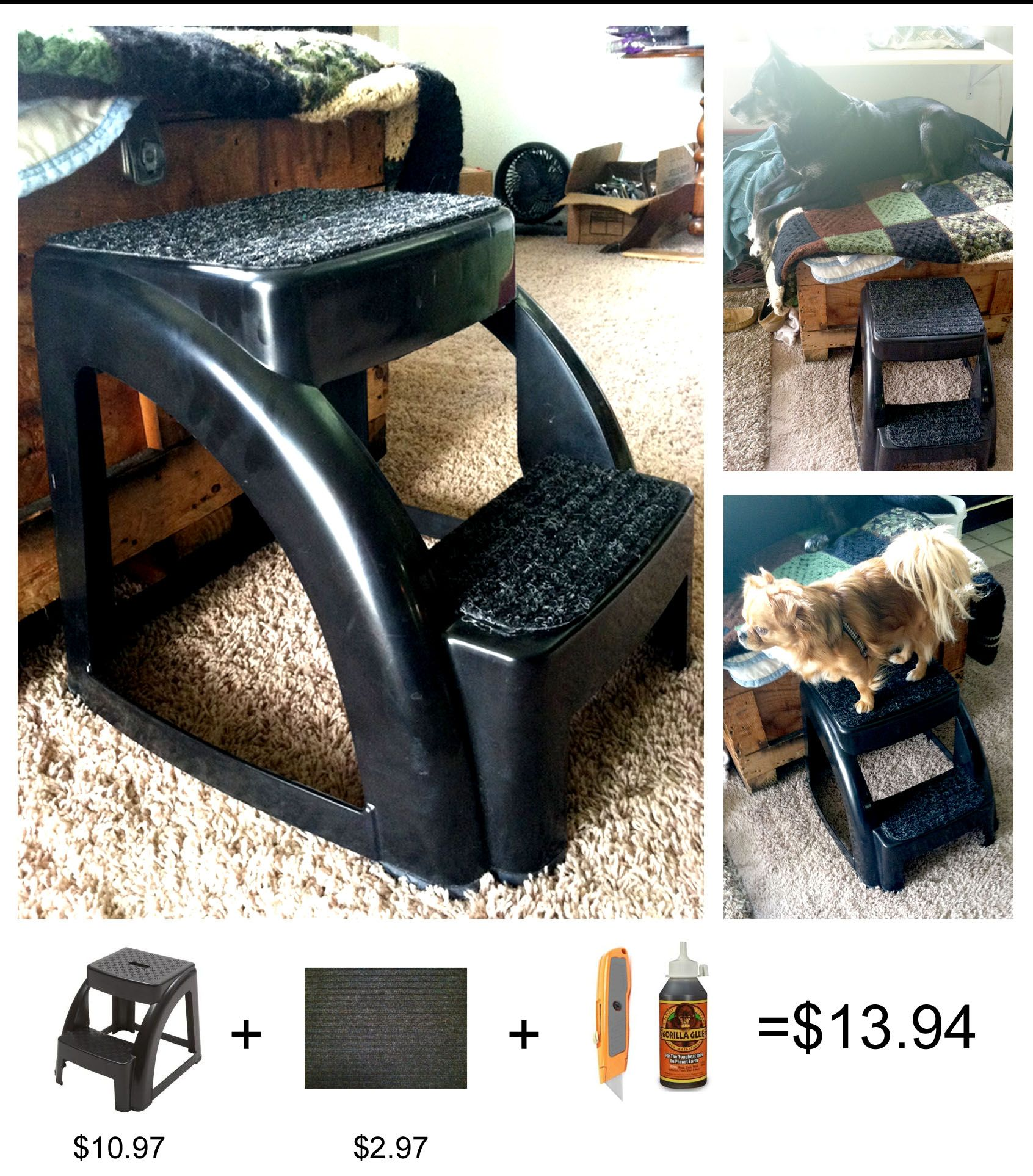 DIY Dog Pet Stairs Stool with support up to 300lbs. This