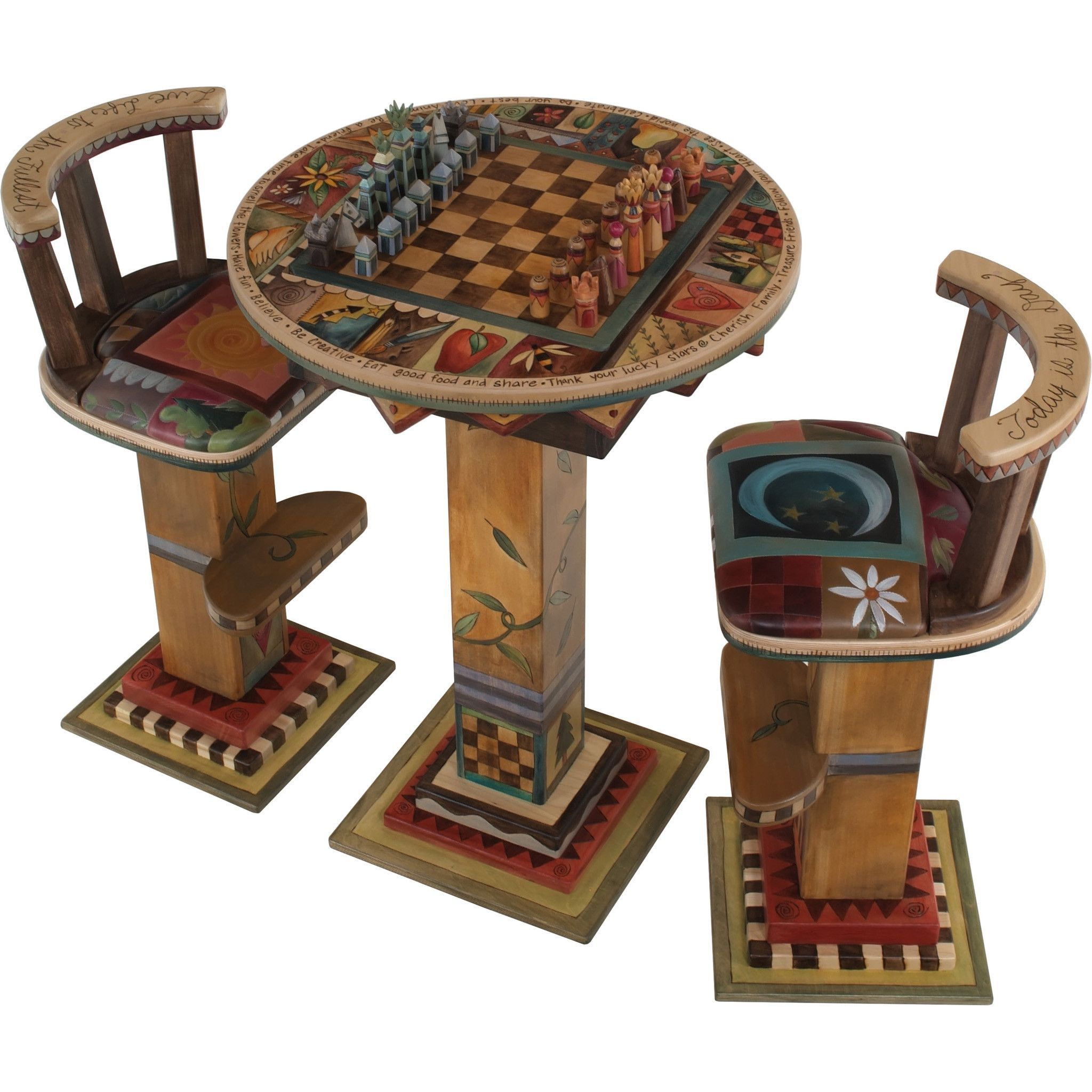 Sticks Fliptop Bar Height Game Table with Two Stools and