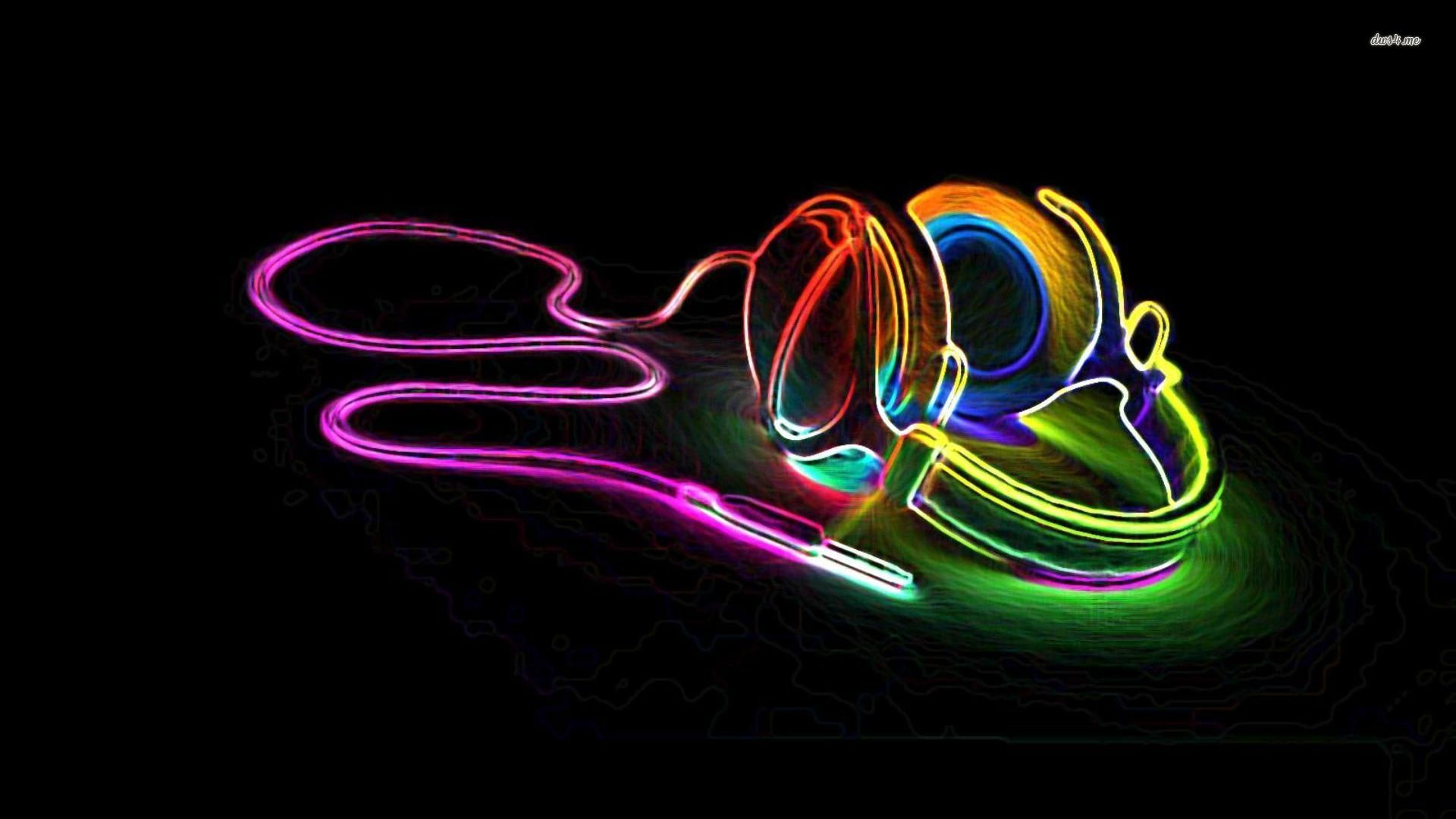 Neon Music Notes Background 6787neonheadphones