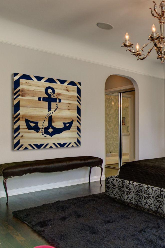 Diy idea for a larg e nautical wall decor piece anchor