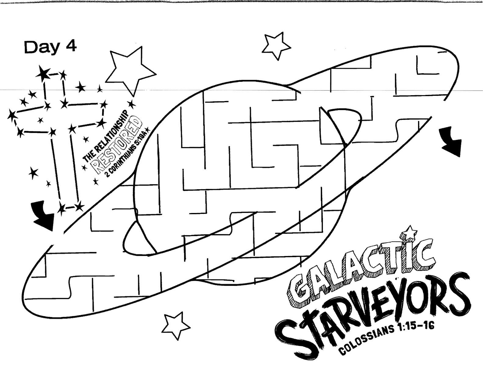 Galactic Starveyors Coloring Sheet Vbs 2017 Day 4 Easy Maze