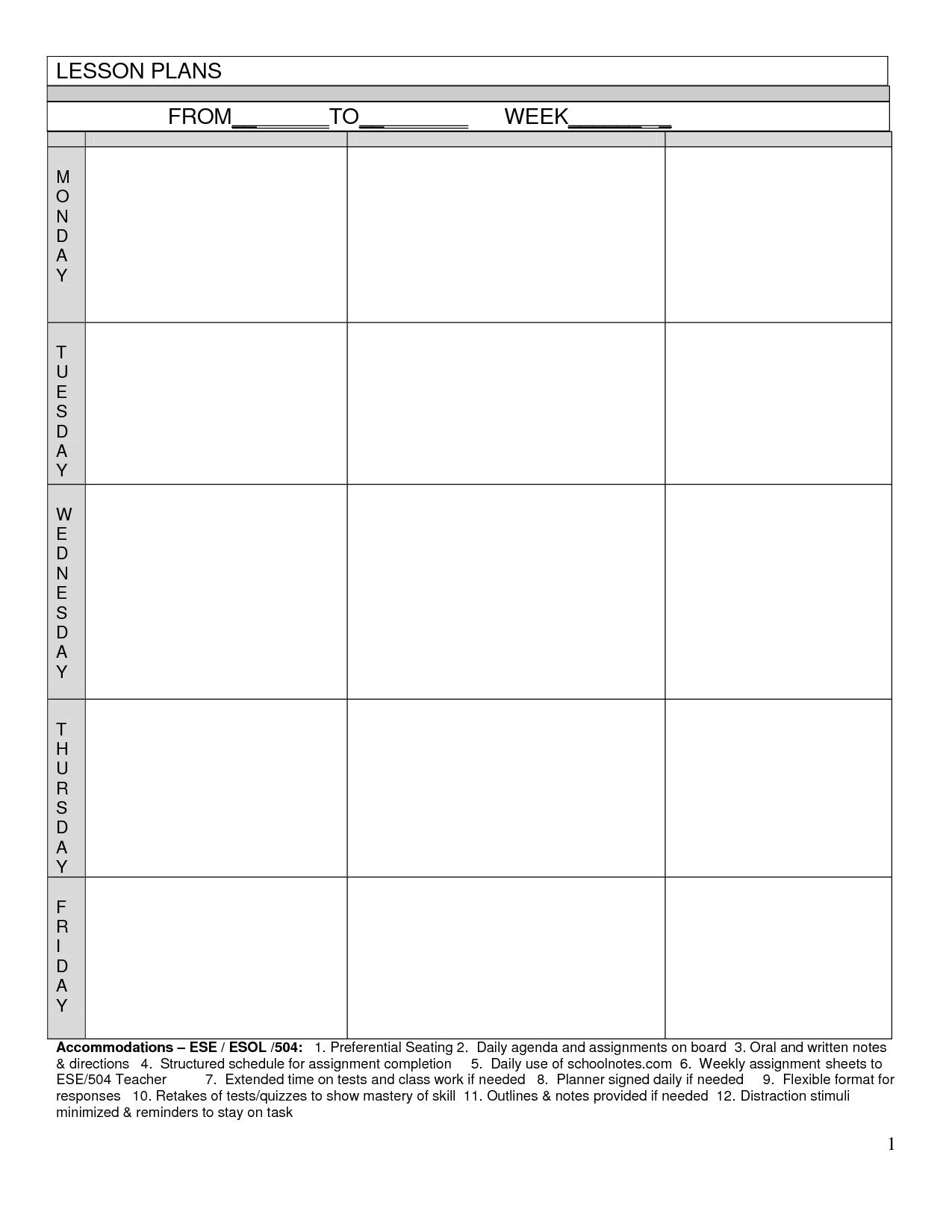 Blank Lesson Plans For Teachers